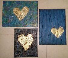 Acrylbilder Leinwand 3 Teile Set Herz Liebe Blattgold Abstrakte Gemälde Spachtel