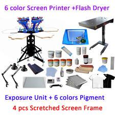 6 Color 6 Station Full Set Material Kit Screen Printing Press & Flash Dryer Kit