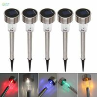 Outdoor Solar Power 7 Color Changing LED Garden Landscape Lights Stainless Steel