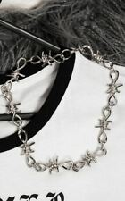 Cold Black Heart Gothic Goth Punk Barbed Wire Silver-look Necklace