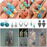 Retro 925 Silver Turquoise Earrings Women Wedding Dangle Drop Jewelry Gift Party