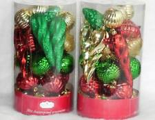 60 Shatterproof Christmas Ornaments Red, Green, Gold NIB