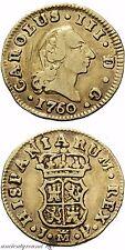 SPAIN GOLD COIN 1/2 ESCUDO MADRID JP CAROLUS III 1760 AD