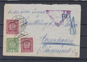 Zensurierter Brief nach Dänemark ECHT gel. mit Ankunftstempel