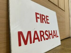 Vintage Fire Marshall sign for a door Mancave Service Brigade