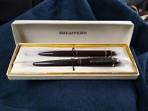 1954 Vintage Sheaffer's Brown Snorkel fountain pen pencil set w Box instructions
