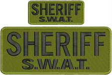 """SHERIFF SWAT """"mbroidery patch 4X10  ANS 2X5hook on OD background   BLACK letters"""