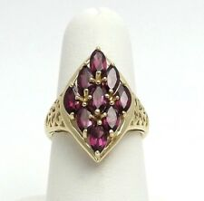 10k Gold 1 CTW Rhodolite Garnet Marquise shaped Filigree Sides Ring Sz 7.5