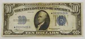1934 $10 Silver Certificate Star Note Fr. 1701 Julian Morgenthau A Block