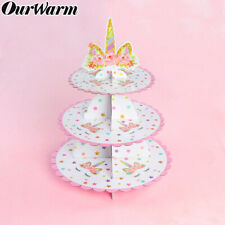 Unicorn Cupcake Stand Cake Tower Tableware Kids Unicorn Birthday Party Decor