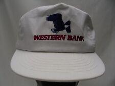 Western Bank - White - Vintage 1980's Adjustable Snapback Ball Cap Hat!