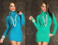 Miniabito Vestito in Maglia Donna Abito Pullover WRL B479 Verde Blu Tg M/L
