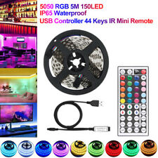 USB LED Strip Lights TV Back Light 5050 RGB Colour Changing with 44 Key Remote
