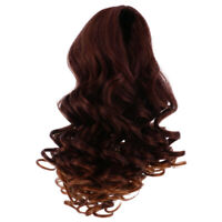 25cm Stylish Long Curly Wig for 18inch American Doll Clothes Accs Red Brown