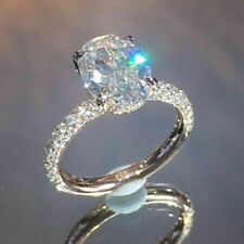 925 Silver Ring Fashion Jewelry White Sapphire Birthstone Wedding Engagement