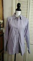 Escada Womens Button Down Long Sleeve Blouse Shirt Purple Cotton Size EUR 36 SM