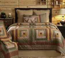 TALLMADGE LODGE Twin QUILT : PATCH GREEN BROWN RUSTIC LOG CABIN