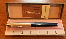 "Vintage AERO-METRIC PARKER ""51"" Fountain Pen~12K 1/10 Gold-Filled Cap~Navy-Blue"