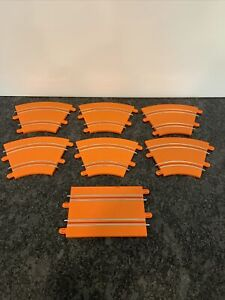 Lot of 7 Hot Wheels Slot Cars Race Track Go for It Orange Track Pieces