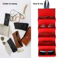 5 Slots Foldable Leather Sunglasses Eyeglasses Travel Container. Organizer W3S7