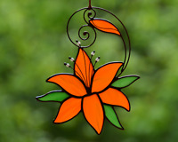 Stained glass lily suncatcher, windows hangings decoration, garden ornament