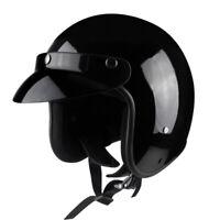 3/4 Open Face Motorcycle Helmet w/Sun Visor Cruiser Scooter Chopper Black Light