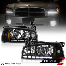 06-10 Dodge Charger [Direct Fit] Black LED DRL Upgrade Replacement Headlight Set