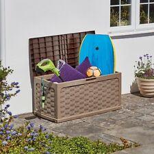 Garden Storage Box 335L Waterproof Outdoor Patio Plastic Rattan Sit on Lid Chest