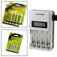 ULTRA FAST LCD INTELLIGENT BATTERY CHARGER + 12 AA AAA RECHARGEABLE BATTERIES