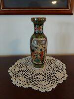 "Chinese Cloisonne vintage 8"" Vase 5 lady outdoor scene on porcelain"