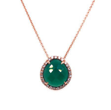 2.08ct Rose Cut Green Agate and Diamond Pendant in 14k Rose Gold