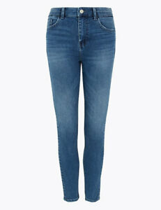 MARKS AND SPENCER IVY BUTTON FRONT SKINNY JEANS SIZE 12 LONG