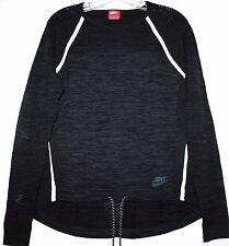 Nike Tech Women's S Black & Gray Crew Top w/ Thumb Holes & Hi Lo Hem