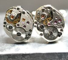 VINTAGE WATCH MOVEMENT CUFFLINKS STEAMPUNK CUFF LINKS MEN/WOMENT #01