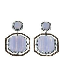 Rarities SS Blue Lace Agate and Multi Gem Earrings
