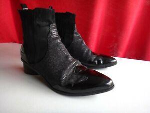 Senso Klara Black Textured Mid Heel Ankle Womens Boots - size 41