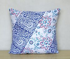 Indian Hand Block Print Cotton Set-2 Decorative Square Sofa Cushion Cover 16X16""