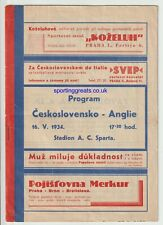 More details for czechoslovakia v england prague 1934 - extremely rare programme - good condition