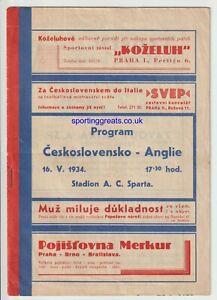 Czechoslovakia V England Prague 1934 - Extremely Rare Programme - Good Condition