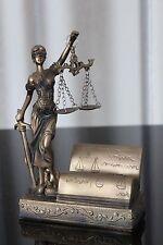 Justitia Figur Visitenkartenhalter 19cm Bronze Deko Göttin Recht Anwalt Notar