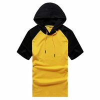Hoodie Muscle Slim Fit Short Sleeve Basic Hooded Shirts Tops Casual T-shirt Mens