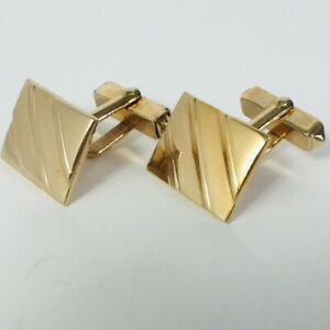 Vintage Swank Cufflinks Gold Tone Rectangle with Diagonal Lines