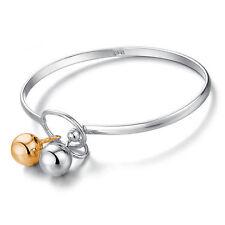 """Women's Unisex 925 Sterling Silver Cuff Bangle Open Bracelet 7.5"""" G2"""