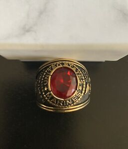 Mens Marine Corps Seal US Military Gold Sapphire Stone Ring