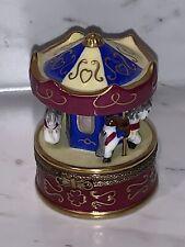 Limoges France Peint Main Rochard Carousel Horses Trinket Box