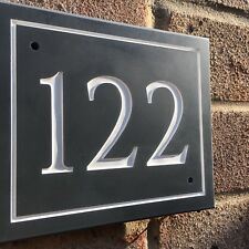 "Slate House Sign Address Plaque BORDER 6 x 5"" Personalised Any Name or Number"