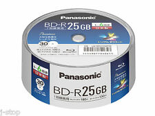 New Panasonic Bluray Discs BD-R 25GB 6x Speed Inkjet Printable Blu ray Disc x 30
