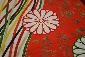 Japanese Vintage Silk Piece Vibrant Red, Green Floral Chrysanthemum Design 1141