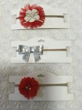 3 X Baby Toddler Girls Headbands. One Size Fits All. Red Flowers Sequins Bow AUS