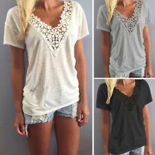 Mode Femme Dentelle Crochet Manche courte Loose Casual Hauts Chemises T-shirts